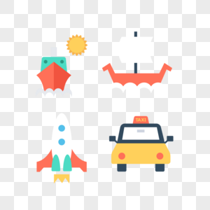 交通工具轮船帆船火箭滴滴车图标免抠素材图片