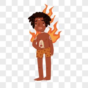 高温炎热非酋印第安晒黑卡通人物图片