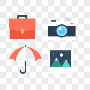 公文包相机雨伞风景画图标免抠素材图片