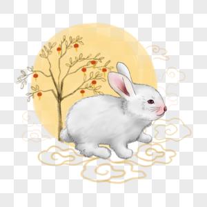 中国风国画玉兔图片