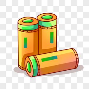 卡通黄色电池图片