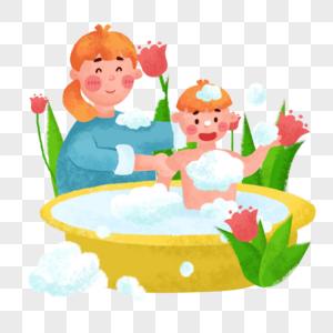 给宝宝洗澡图片