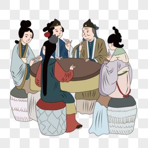 古代家庭聚会场景图片