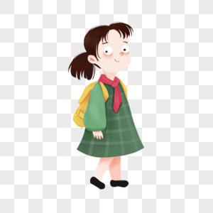 手绘背书包的小女孩图片