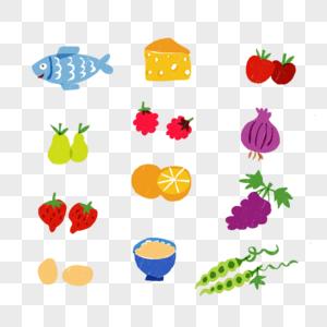 蔬菜水果鱼小清新插画奶酪茄子番茄鸭梨豆角洋葱可爱风图片