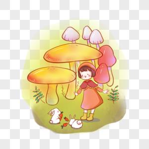 看兔子吃萝卜的女孩图片