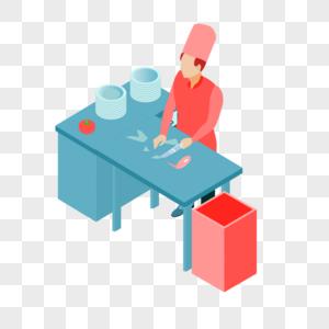 厨师做菜做饭鱼生元素图片