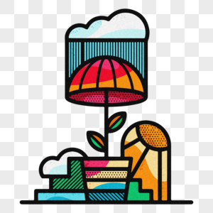 雨伞创意艺术噪点插画素材设计图片