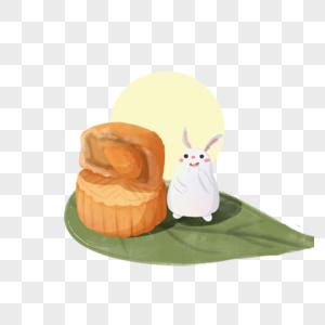 手绘玉兔月饼图片