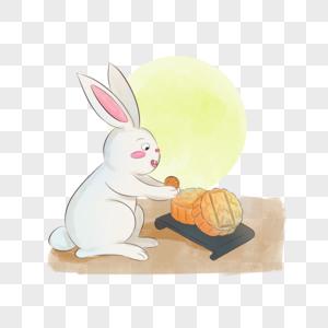 手绘风玉兔月饼插画图片