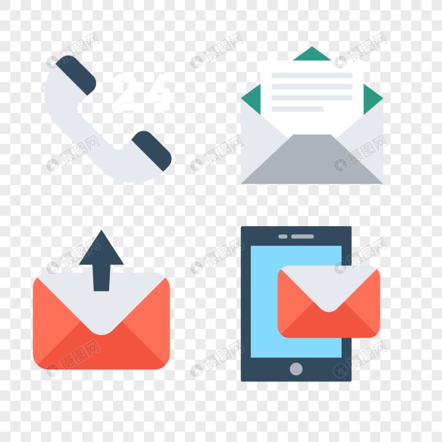 电话信件发短信智能机信息图标素材图片
