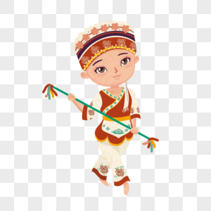 卡通风格少数民族白族少女拿着霸王鞭图片