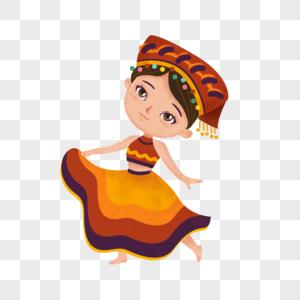 卡通风格少数民族彝族少女跳舞图片