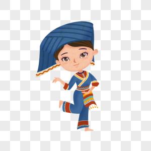 卡通风格少数民族壮族少女跳舞图片
