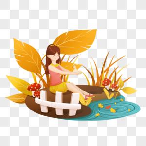 秋天红色黄色清新扁平女孩池塘边游玩图片