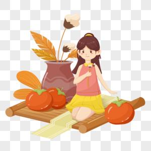 秋天红色黄色清新扁平女孩玩耍吃柿子图片