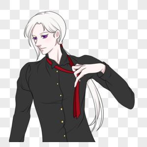 扯领带的的黑衬衫白发美男图片