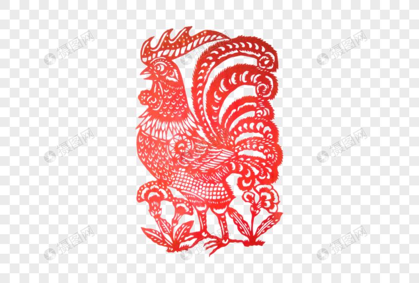 传统红色手工剪纸公鸡图片