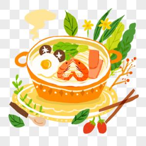 火锅泡面麻辣烫虾鸡蛋蘑菇面蔬菜插图插画小清新可爱风手绘图片