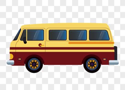 手绘卡通大巴汽车 扁平化矢量图素材图片