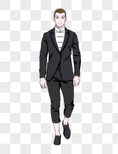 穿黑色西装的帅哥模特图片
