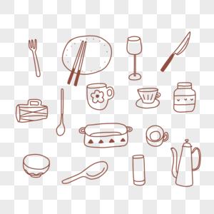 厨房小物件背景图案图片