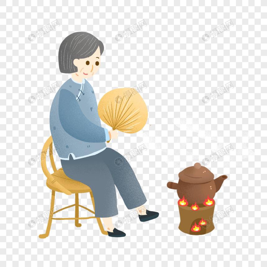 秋天养生炖中药的老人图片