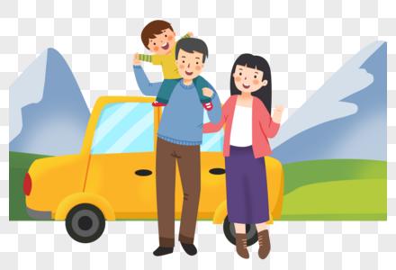 国庆假期开车出游的一家人图片