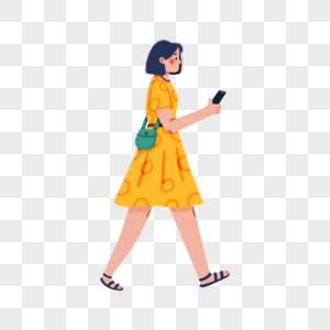 看手机的短发女孩图片