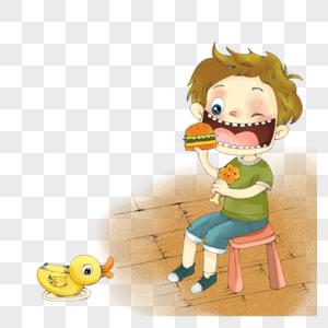 小孩子吃汉堡图片