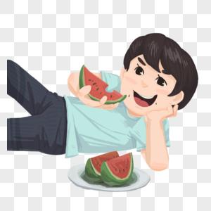 躺着吃瓜的男孩图片