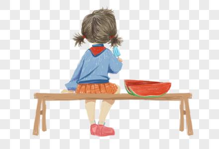 坐着吃瓜的女孩图片