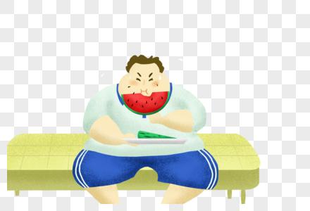 坐着吃瓜的男孩图片
