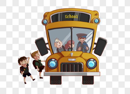 坐校车上学图片