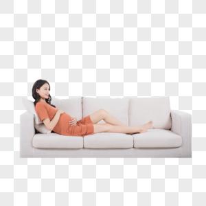 孕妇躺沙发上休息图片