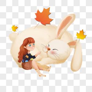 倚靠兔子身上的女孩图片