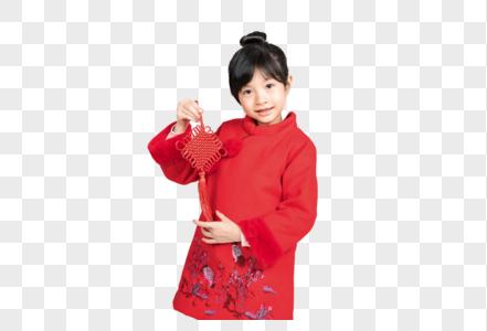 拿中国结的小女孩图片