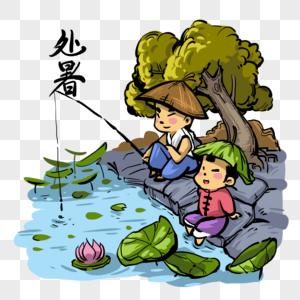 池塘边钓鱼的孩子图片