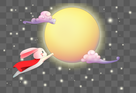 奔月的兔子图片