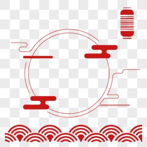 春节线条中国风传统红色图片