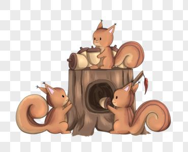 储存食物的松鼠图片