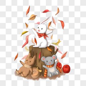 玩树叶的动物们图片