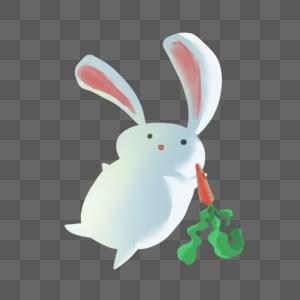 吃萝卜的白兔图片