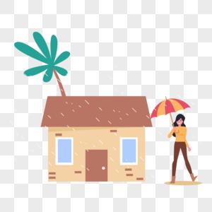 下雨天撑雨伞图片