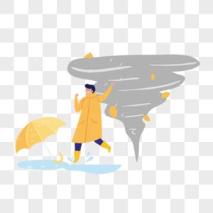 龙卷风男人雨中奔跑图片