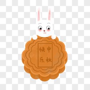 玉兔吃月饼图片
