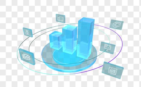 创意柱形数据分析组合元素图片