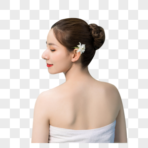 女性泡温泉图片