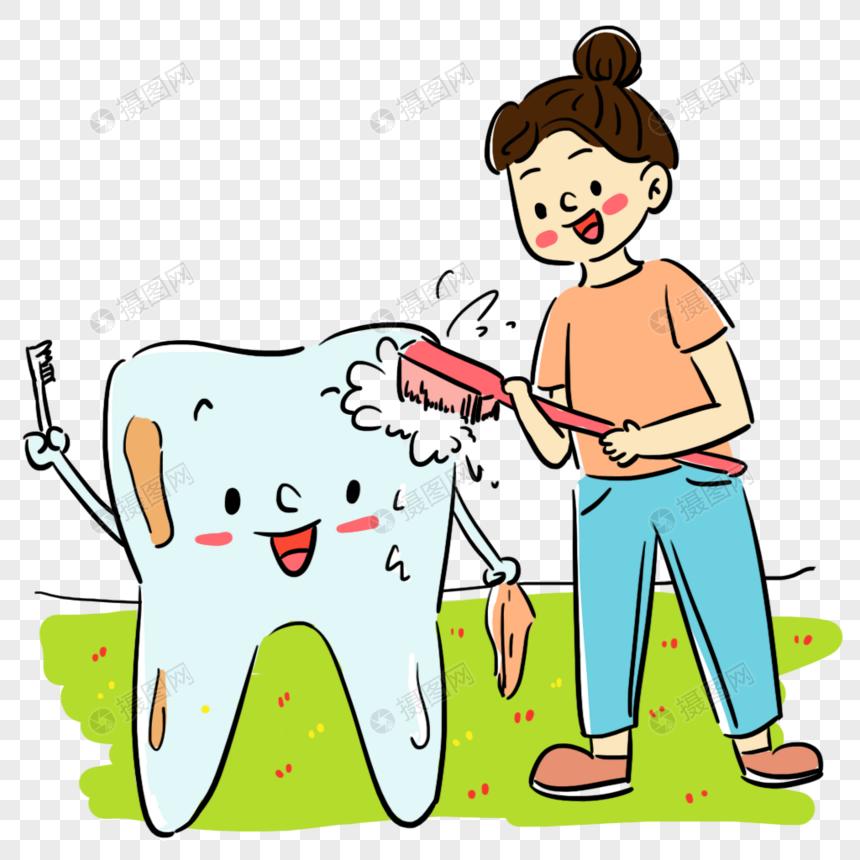 清新卡通卡通牙齿刷牙场景图片