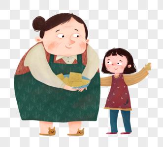 重阳节奶奶和孙女在一起吃东西图片